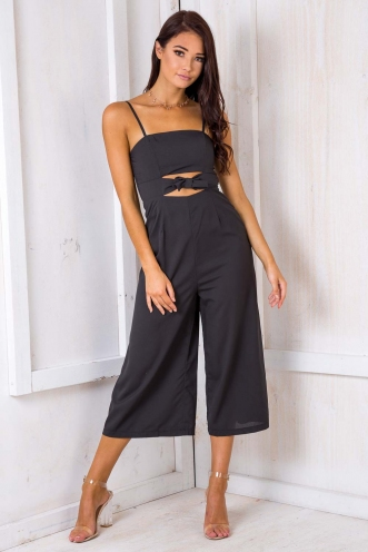 Chocolate Peppermint Cake Jumpsuit - Black