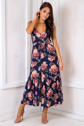 Show Stopper Dress - Navy Floral