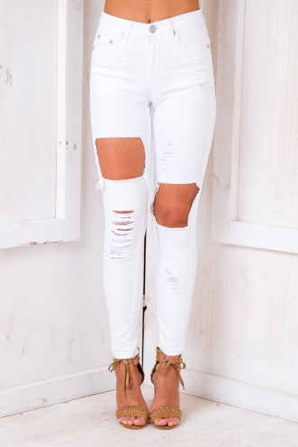 Love Yourself Jeans - White Denim