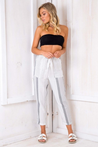 Aunt Sonja's Cherry Squares Pants - White/ Black Stripe