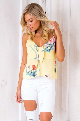 Don't Wanna Go Home Top - Yellow Floral