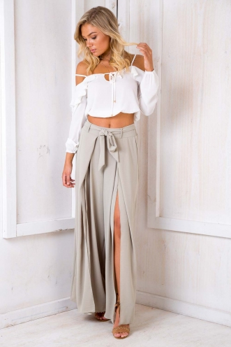 Paris Crepe Pants - Light Khaki