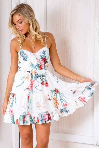 Never Say Never Dress - White Floral