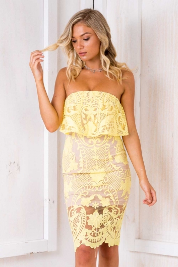 Life Is A Highway Dress - Nude/ Yellow Lace