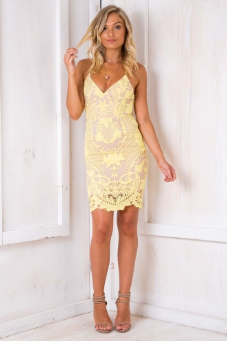 Count On Me Dress - Nude/ Yellow Lace
