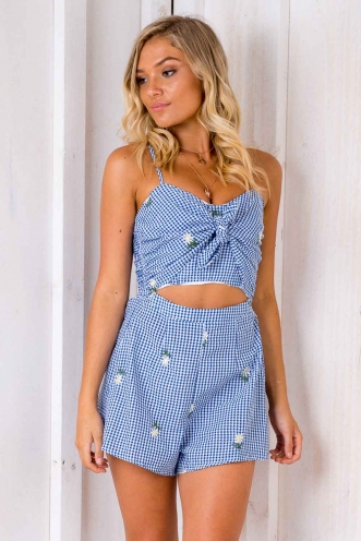 Sweetest Devotion Playsuit - Blue/ White Chequered