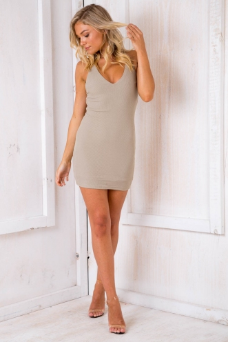 Live It Up Dress - Light Khaki