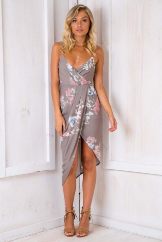 It Goes Like This Dress - Light Khaki Floral