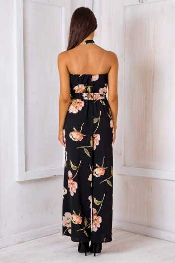 Party Nights Jumpsuit - Black Floral