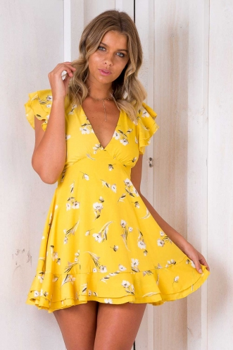 Keep it Simple Dress - Yellow Floral
