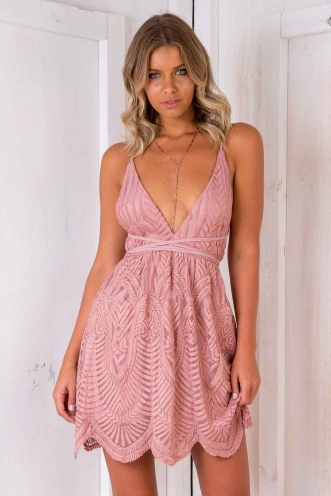 Rack City Dress - Dusty Pink