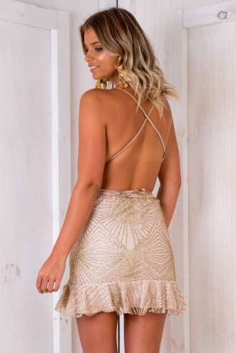 Bang Bang Dress - Gold Sparkle