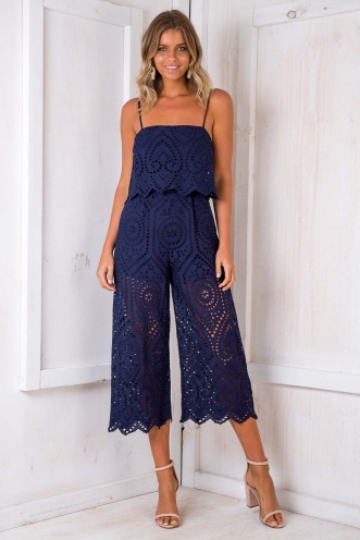 Free Spirited Jumpsuit - Navy