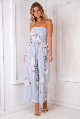 Catalina Jumpsuit - Pin Stripe Floral
