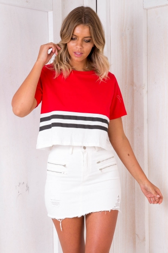 B-Ball Cropped Tee - Red