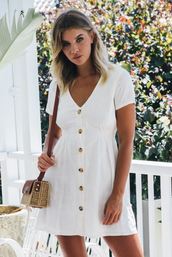 Light Loving Dress - White Linen