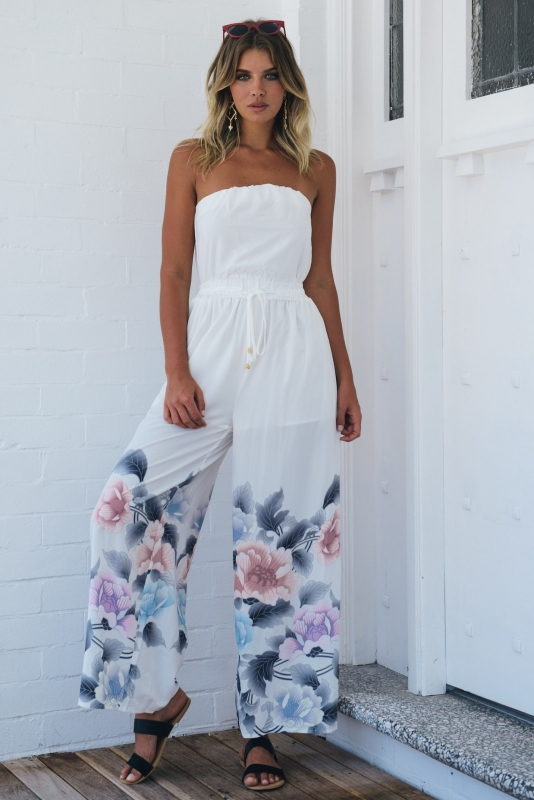 ef38f50210a9 Catalina Jumpsuit - White Floral Print-SALE - Stelly