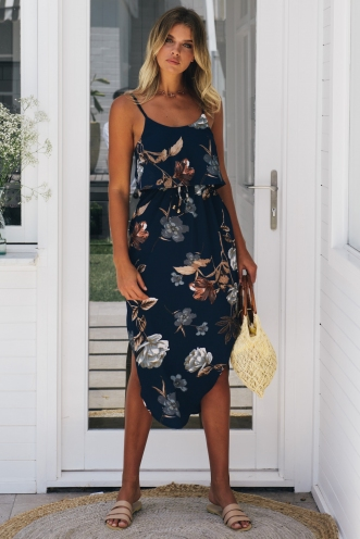 What I Want Relaxed Maxi Dress - Navy Print