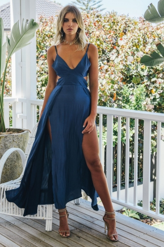 Flow Dress - Metallic Blue
