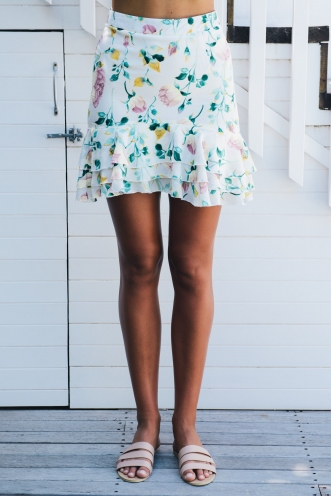 Part Of Me Skirt - White Floral