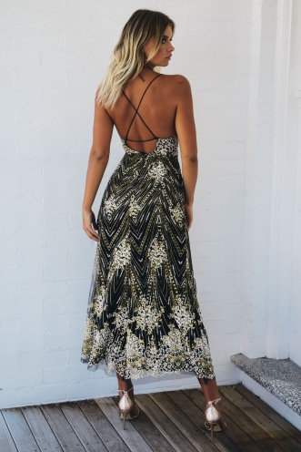 You And I Dress - Black Sequin
