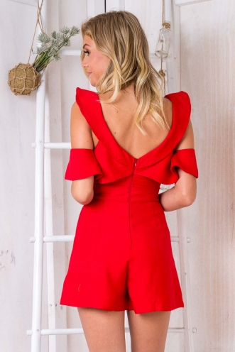 Never Say Never Playsuit - Red