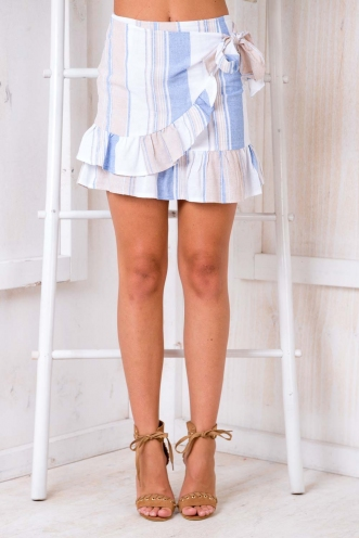 Coconut Cake Skirt - Blue/Beige Stripe
