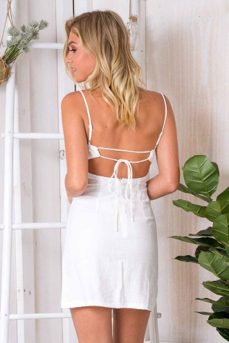Free Time Dress - White Linen