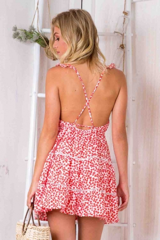 Lost Lover Dress - White Print/ Red Flowers