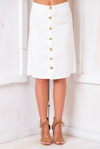 Sugar and Spice Skirt - White Linen