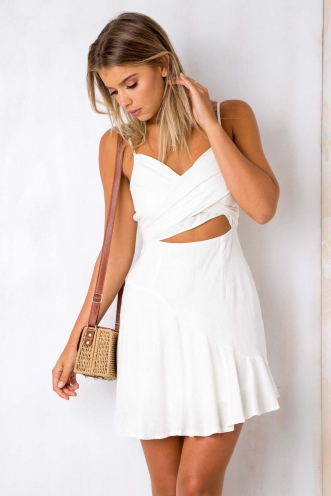 Wonderful World Dress - White Linen
