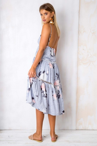 She Looks So Perfect Dress - Blue Stripe Floral