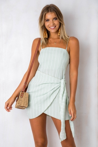 How Would You Feel Dress - Light Green Stripe