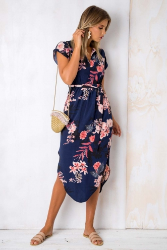 Pippa Dress- Navy Floral