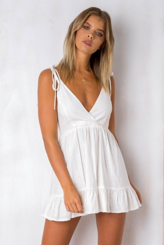 Seachange Dress - Off White Linen