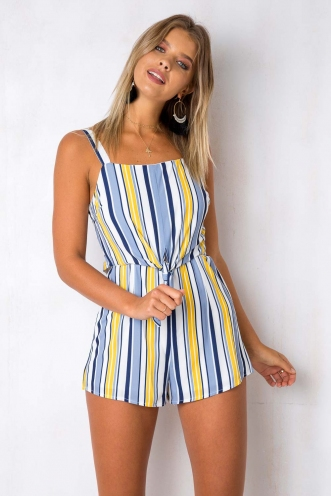 Start It Playsuit - Blue/Mustard Stripe