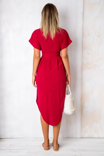 Don't Let Go Dress - Maroon Red