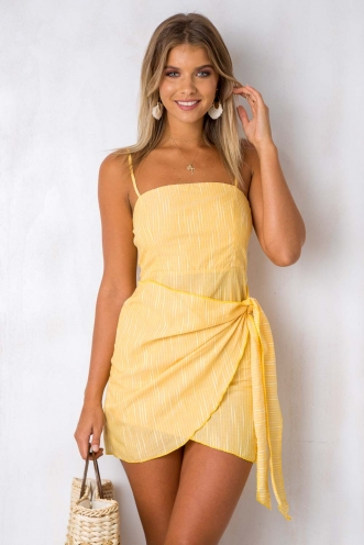 How Would You Feel Dress - Yellow Stripe