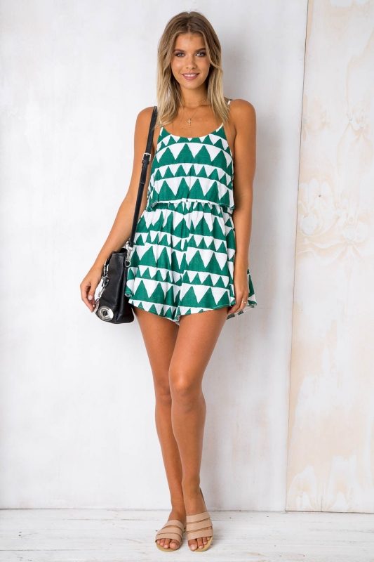 64fa51ae01 Tell me printed playsuit - Green White. Loading zoom