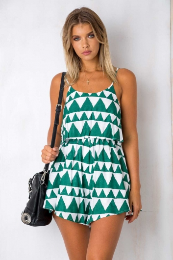 Tell me printed playsuit - Green/White