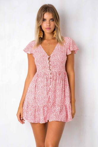 Blissful Days Dress - White/Red Print