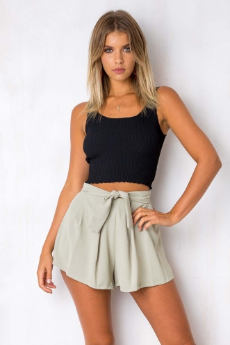 Black Bottom Cake Shorts - Khaki