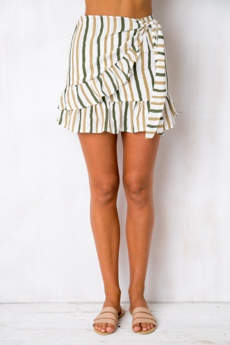 Coconut Cake Skirt - White/Khaki Stripe