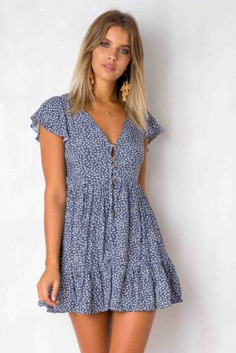 Blissful Days Dress - Navy/White Print