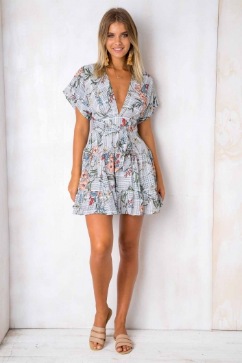 Confessions Dress - Mix Peach Floral