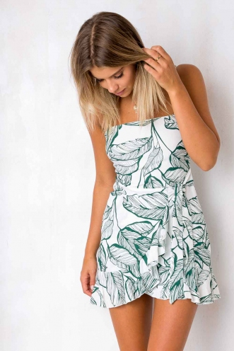Applebloom Dress - White/Green Print