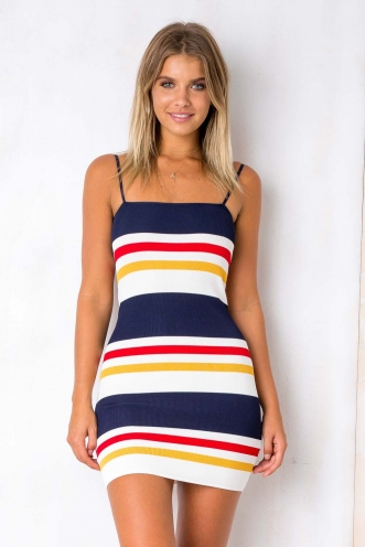 Preppy Dress - Navy/Red/Yellow