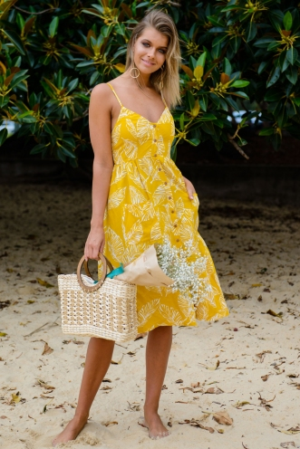 The Tide Is High Dress - Mustard Print