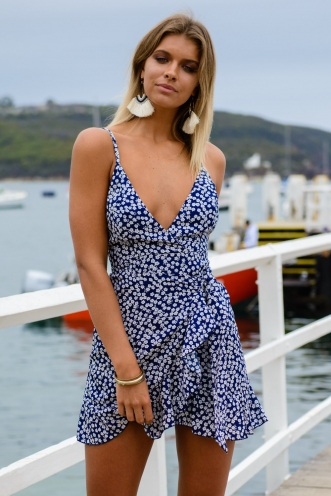 Bare Essentials Dress - Navy Print