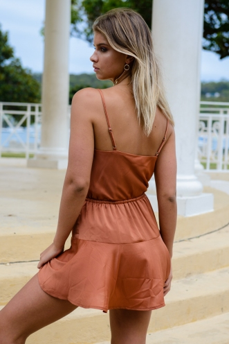 Holiday Romance Dress - Terracotta Brown